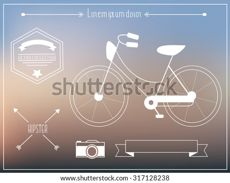 Hipster elements with old retro bicycle - stock vector