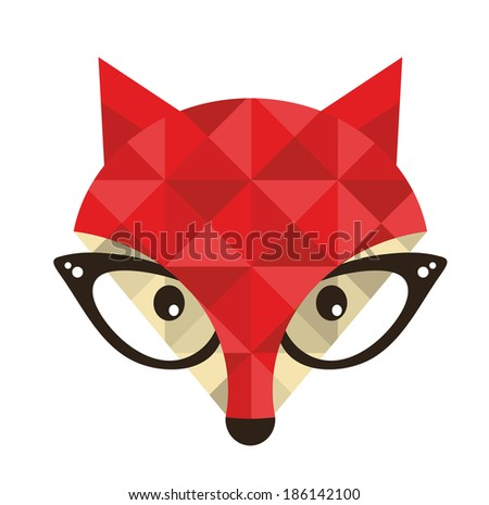 Hipster emblem with fox. Vector illustration for cool print.  - stock vector