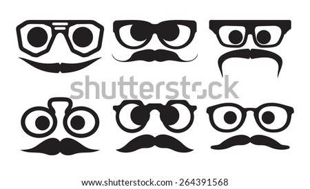 Hipster faces expressions  - stock vector