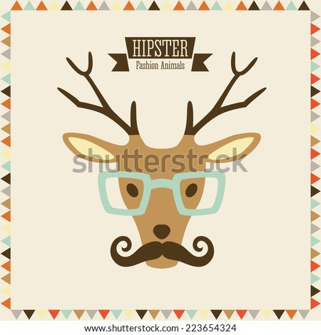Hipster fashion animal with classic hipster elements. Reindeer.