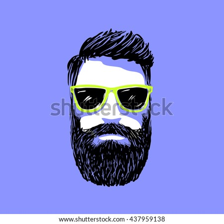 Hipster fashion bearded man portrait in sunglasses, Hand drawn vector illustration - stock vector