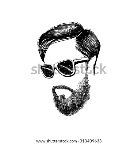 Hipster fashion man hair and beards, Hand drawn vector illustration