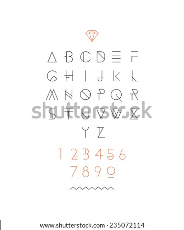 Hipster font, typeface, typography, typewriter, poster, type, text, sans serif - stock vector