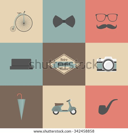 hipster gadget, retro and vintage style - stock vector