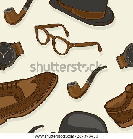 Hipster / Gentleman Stuff Elements Seamless Pattern illustration in vector - stock vector