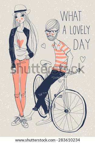 Hipster Girl and Boy with retro bicycle - stock vector