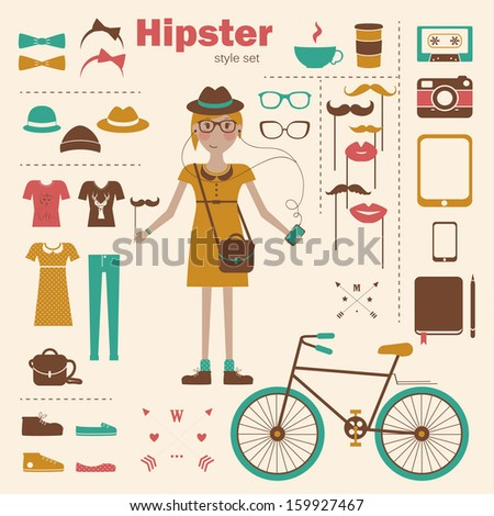 Hipster girl infographic concept background with icons