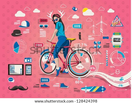 hipster girl with bicycle,info graphic, - stock vector