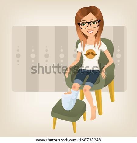hipster girl with broken leg sitting on an armchair - stock vector