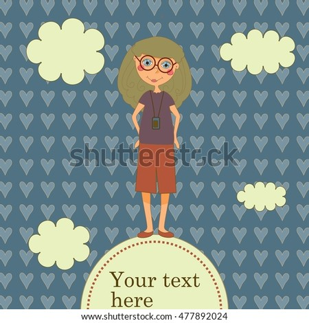 Hipster girl with glasses layout