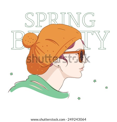 Hipster girl with sunglasses in yellow hat with a pompon: hand drawn vector illustration. Spring fashion accessories. - stock vector
