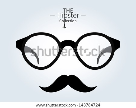 Hipster glasses, Hipster man. Trendy fashion. Vector illustration. - stock vector