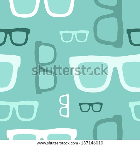 Hipster glasses seamless pattern - stock vector