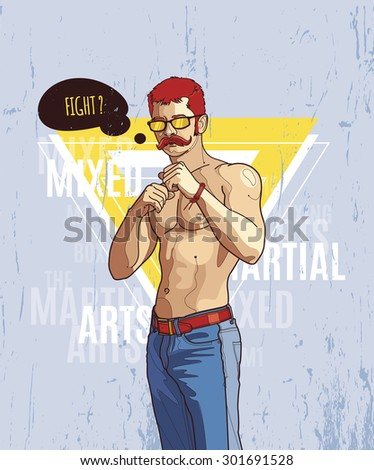 Hipster graffiti character on abstract triangle background. Hand-drawn hipster dude with mustache. Vector illustration.  - stock vector