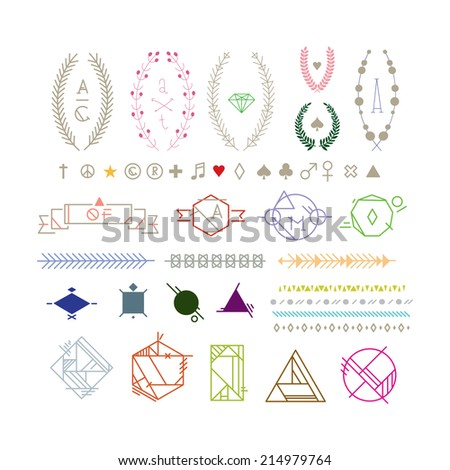 Hipster graphic elements, peace, heart, plus, star, female, male, spade, diamond, club, note, registered trademark symbol, copyright, leaf - stock vector
