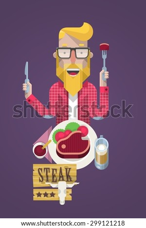 Hipster guy eating a steak, vector background - stock vector