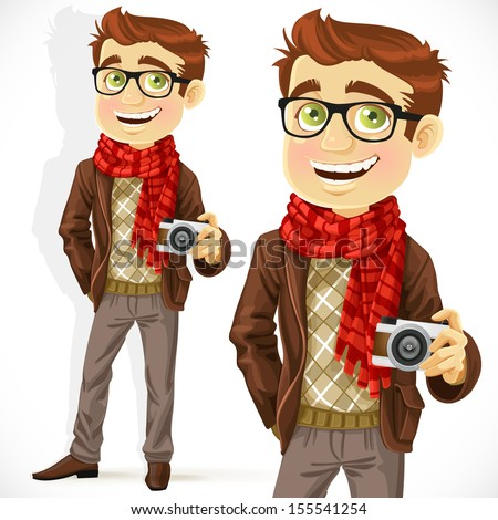 Hipster guy wearing a scarf and with a camera isolated on white background - stock vector