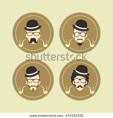 hipster guy with bowler hat set - stock vector