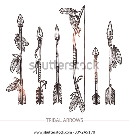 Hipster Hand Drawn Arrows. Indian Arrows And Bow Set - stock vector