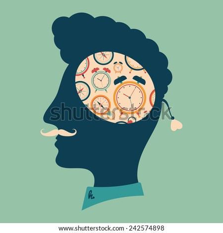 Hipster head with thoughts about retro clocks. - stock vector