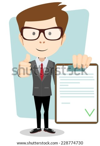 Hipster Holding a Document in Which All Approved, Validated, Agreed. The Document Put the Green Check Mark, Flags. Vector Illustration - stock vector