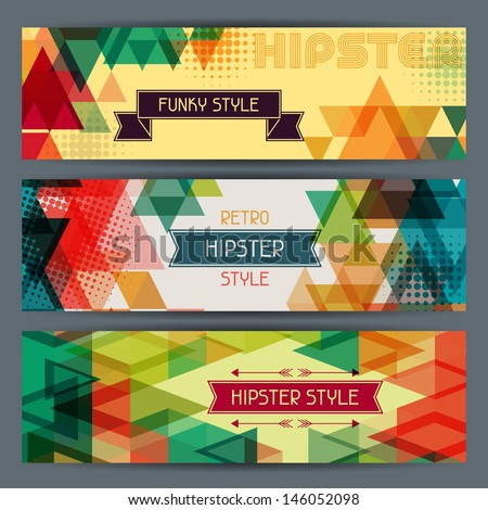 Hipster horizontal banners in retro style. - stock vector
