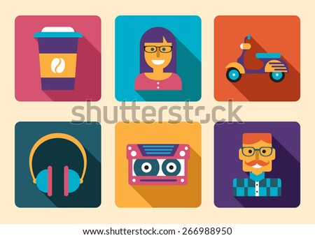 Hipster icon accessories flat design vector illustration - stock vector