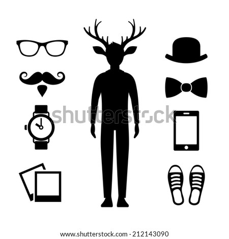 Hipster Icons Set with Deer Man Silhouette. Vector illustration - stock vector