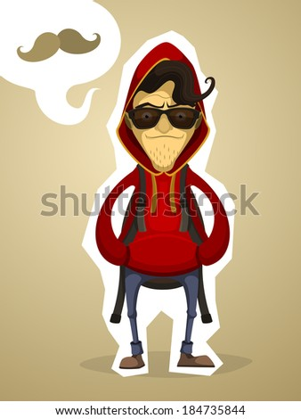 Hipster in the hood and with backpack - stock vector