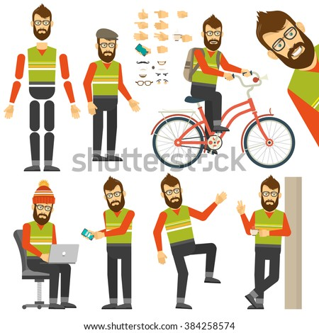 Hipster in various positions in flat style. Constructor for any hipster poses. Hipster on bicycle. - stock vector