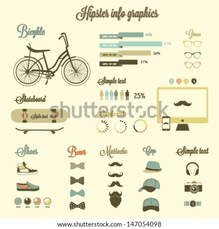 Hipster info graphics elements and icons - stock vector