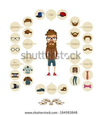 hipster infographic background hipster elements - stock vector