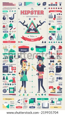 Hipster infographic elements, vector template  - stock vector