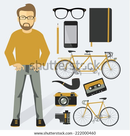 Hipster infographic vector concept background design elements and icons - stock vector