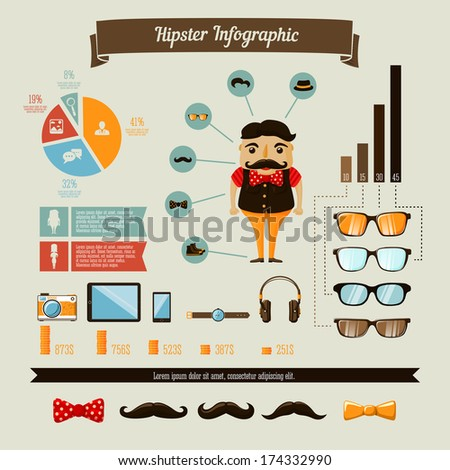 Hipster infographics elements set with geek boy charts and graphs vector illustration - stock vector