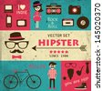 Hipster infographics. Retro set of hipster elements and icons. Blue, pink and beige grunge background. Vector illustration. - stock vector