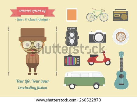 hipster item, retro and classic gadget, pastel flat style - stock vector