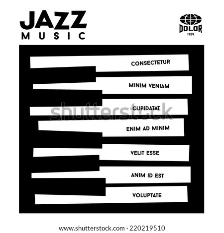 hipster jazz album cover with piano  keyboard - stock vector
