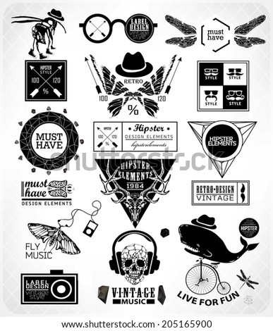 Hipster label, icon, elements, set of vintage hipster label with gothic, sacral sign and symbol - stock vector