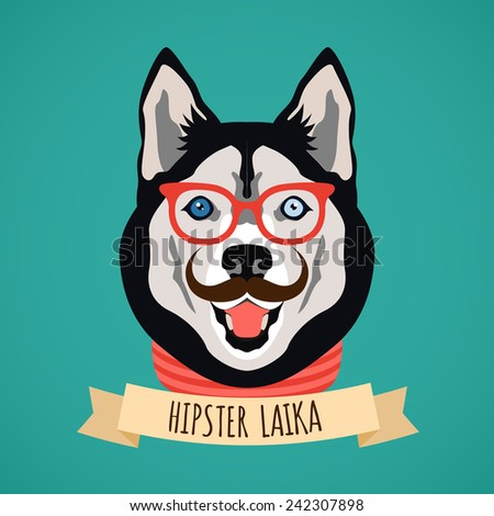 Hipster laika dog with glasses and moustaches  portrait with ribbon poster vector illustration - stock vector