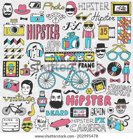 Hipster lifestyle colorful doodle set. Hand drawn vector illustration. - stock vector