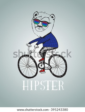 Hipster lion  riding by bicycle vector illustration, all elements separated.  - stock vector