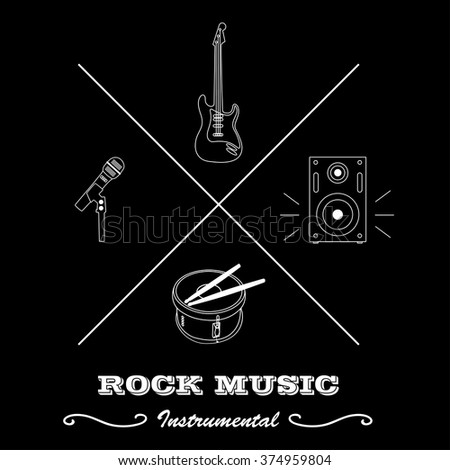 Hipster logo or label for musical instruments: guitar, drum with sticks, microphone, speaker with text isolated on black background. Vector illustration logo. - stock vector