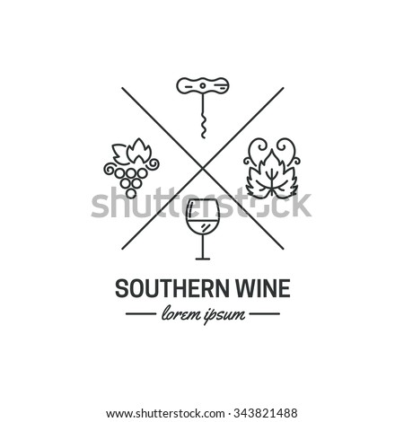 Hipster logo or label for wine and winery. Wine logo with grape, corckscrew, glass and grape leaf. Vector logo.
