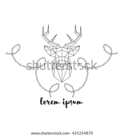 Hipster logo with silhouette of deer and twigs around. Hand drawn brush. Vector illustration. Reindeer logotype for hunting club or touristic camp. - stock vector