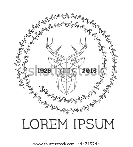 Hipster logo with silhouette of polygonal deer and twigs around. Hand drawn brush. Vector illustration. Reindeer logotype for hunting club or touristic camp. - stock vector
