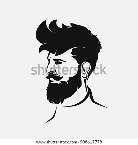 hipster male figure with beard and hair