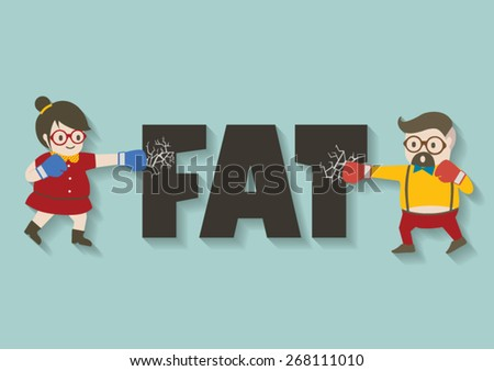Hipster man and woman punch fat vector cartoon. - stock vector