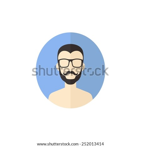 hipster man avatar user icon picture - cartoon character - stock vector