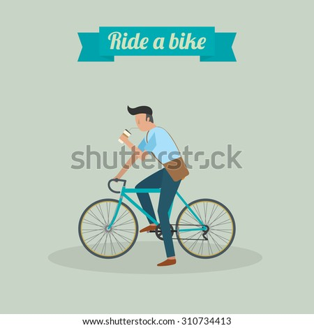 hipster man character riding a bike and drinking water vector illustration